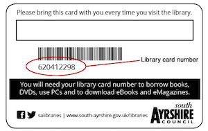 South Ayrshire Library Card